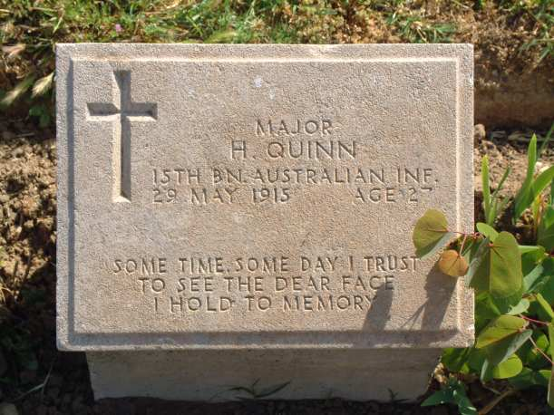 Hugh Quinn's grave - one I always visit at Gallipoli.